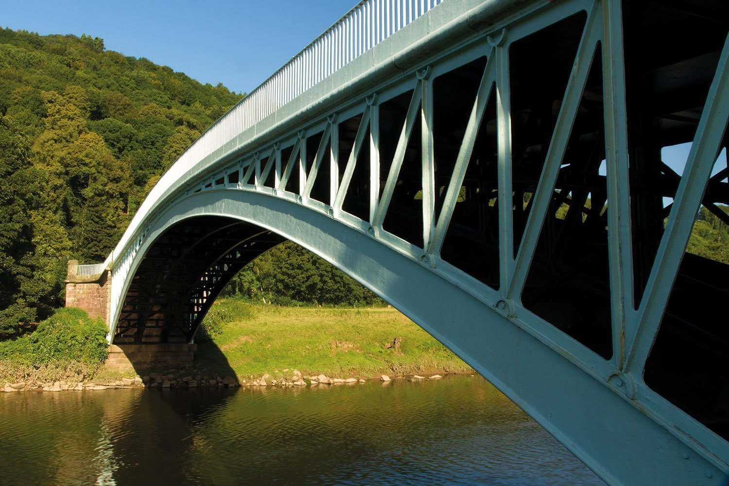 Bigsweir bridge crosses between Wales and England, in the united kingdom, it spans the River Wye in a single cast iron arch.