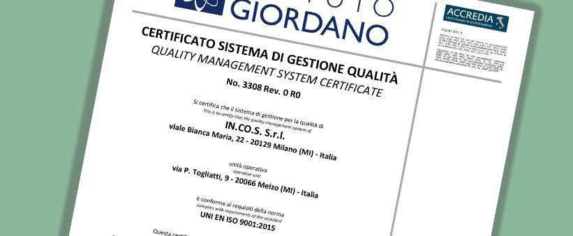 Nuove Certificazioni per IN.CO.S